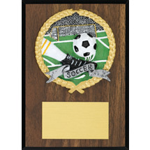 "Soccer Plaque - 5 x 7"" Plaque with a Walnut-tone Board - Color Brushed Pewter-Tone Resin Cast Soccer"