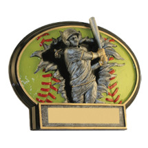 "Softball Trophy - 6 x 4 1/2"" Softball 3D Resin Trophy"