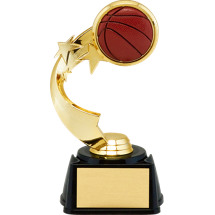 "Basketball Trophy - 7"" 3D Basketball Emblem Trophy with Star Riser"