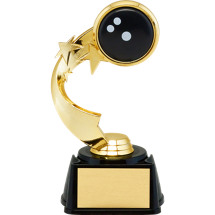 "7"" 3D Bowling Emblem Trophy with Star Riser"