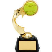 Softball Trophy - 3D Softball Emblem Trophy with Star Riser
