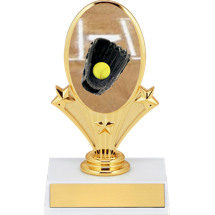 "5 3/4"" Softball Oval Riser Trophy"