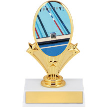 "5 3/4"" Swimming Oval Riser Trophy"