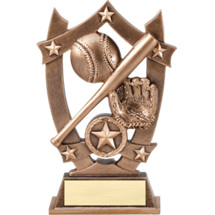 Baseball Trophy - Gold Tone Resin Baseball Trophy