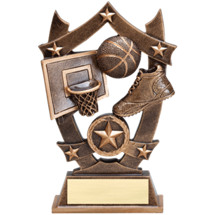 "Basketball Trophy - 6 1/4"" Antique Gold Tone Resin Basketball Trophy"