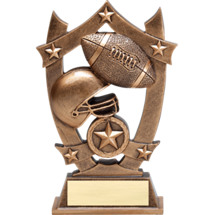 "6 1/4"" Antique Gold Tone Resin Football Trophy"