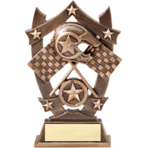 "6 1/4"" Antique Gold Tone Resin Racing Trophy"