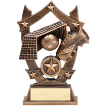 Soccer Trophy - Antique Gold Tone Resin Soccer Trophy