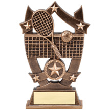 "6 1/4"" Antique Gold Tone Resin Tennis Trophy"