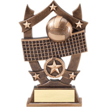"6 1/4"" Antique Gold Tone Resin Volleyball Trophy"