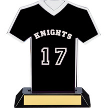 "7"" Black Team Name and Number Jersey Shirt Trophy"
