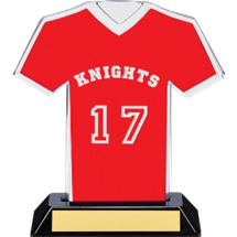 "7"" Red Team Name and Number Jersey Shirt Trophy"