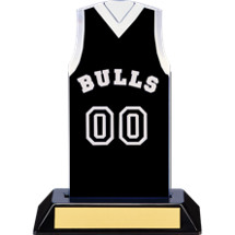 "7 1/2"" Black Team Name and Number Sleeveless Jersey Trophy"