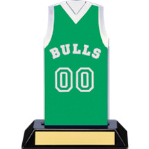 "7 1/2"" Green Team Name and Number Sleeveless Jersey Trophy"