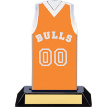 "7 1/2"" Orange Team Name and Number Sleeveless Jersey Trophy"