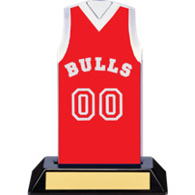 "7 1/2"" Red Team Name and Number Sleeveless Jersey Trophy"