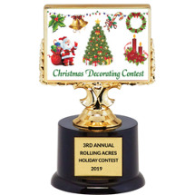 Christmas Decorating Contest Trophy - Black Acrylic Christmas Trophy