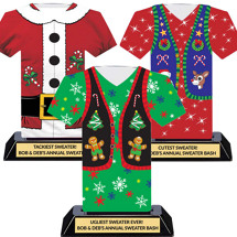 Set of 3 Trophies - Ugly Christmas Sweater Trophy Trio - Party In A Box!