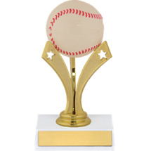 "Baseball Trophy - 6"" Baseball Trophy with a Star Riser"