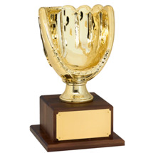 "Baseball Trophy - 15 1/4"" Gold Finish Baseball Glove Trophy"