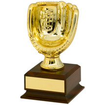 "Baseball Trophy - 7 1/4"" Gold Finish Mini Baseball Glove Trophy"