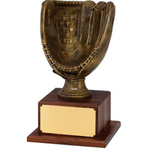 "Baseball Trophy - 15 1/4"" Antique Gold Finish Baseball Glove Trophy"