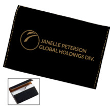 "3 3/4 x 2 3/4"" Personalized Black Leatherette Business Card Case"