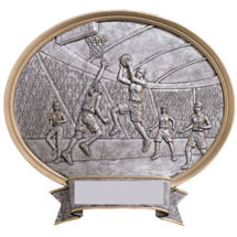 Basketball Pewter-tone Oval Resin Plaque - Female