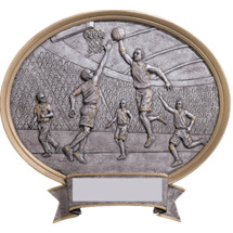 Basketball Pewter-tone Oval Resin Plaque - Male