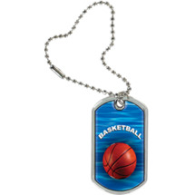 "1 1/8 x 2"" Basketball Sports Tag with Key Chain"
