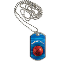 "1 1/8 x 2"" Basketball Sports Tag with Neck Chain"