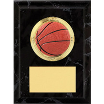 """Basketball Plaque - 4 x 6"""" Black Basketball Plaque"""