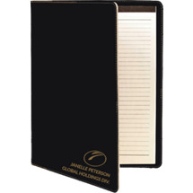 Custom Black Leatherette Portfolio with Notepad