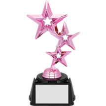 "Dance Trophy - 7 1/2"" Pink Triple Star Dance Trophy"