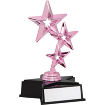 Dance Trophy - Pink Triple Star Dance Trophy with Star Base