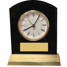 Black Acrylic Desk Clock w/Gold Plate