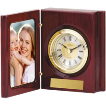 Folding Photo Holder w/Quartz Clock