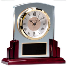 Rosewood Clock Deskset - Engraved Clock