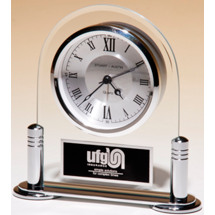 Modern Silver Clock - Engraved Clock