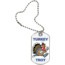 "1 1/8 x 2"" Turkey Trot Sports Tag with Key Chain"