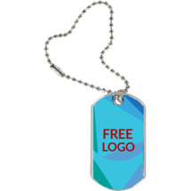 "1 1/8 x 2"" Free Logo Sports Tag with Key Chain"