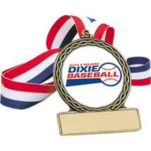 "Baseball Medal - 2 3/4"" Dixie ""Boys and Majors"" Baseball Medal"