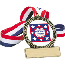 "Baseball Medal - 2 3/4"" Dixie Youth Baseball Medal"