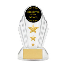 "7"" Silhouette Acrylic Triple Star Trophy 