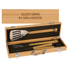 "6 3/4 x 18 3/4"" Personalized 3 Piece Bamboo BBQ Set"