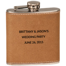 Custom Tan Leatherette-Wrapped Stainless Steel Flask