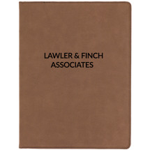 "9 1/2 x 12"" Personalized Brown Leatherette Portfolio with Notepad"