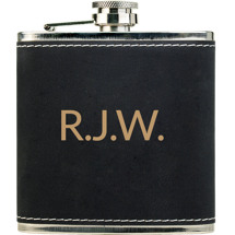 Custom Black  Leatherette-Wrapped Stainless Steel Flask