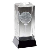 "2 1/2 x 4 3/4"" Optical Crystal Golf Ball and Tee Trophy with Black Plate"