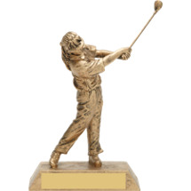 "7 3/4"" Gold Female Golf Resin Trophy"